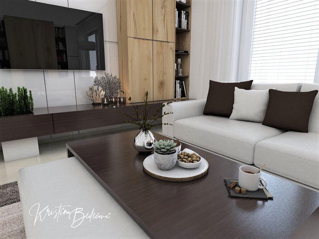Návrh interiéru obývačky Úzka ale praktická, pohľad na stolík