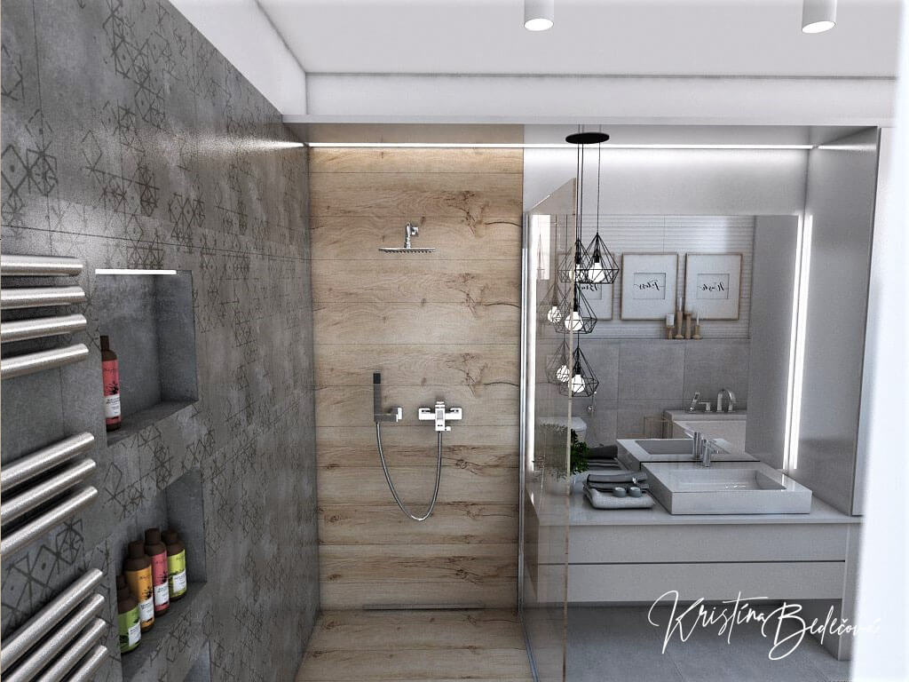 Návrh kúpeľne Rodičovské spa, pohľad na sprchový kút