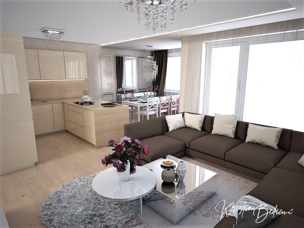 Návrh interiéru bytu Romantika v akcii, ďalší pohľad z obývačky do kuchyne