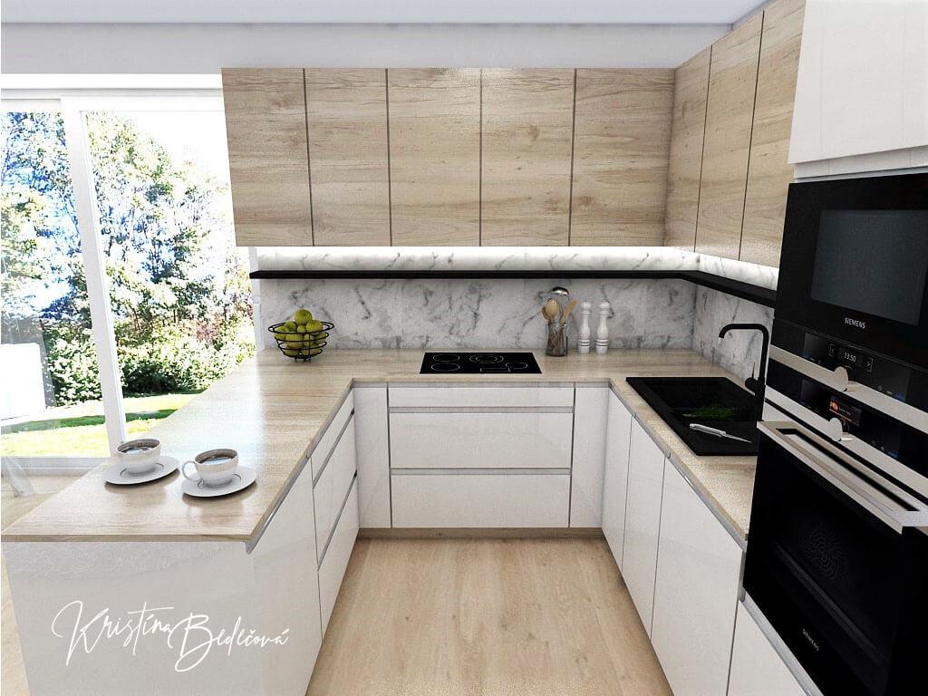 Interiérový návrh kuchyne s obývačkou Po schodoch, pohľad do kuchyne