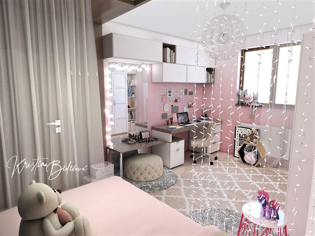 Návrh detskej izby Ombre stenám pristane, pohľad z postele