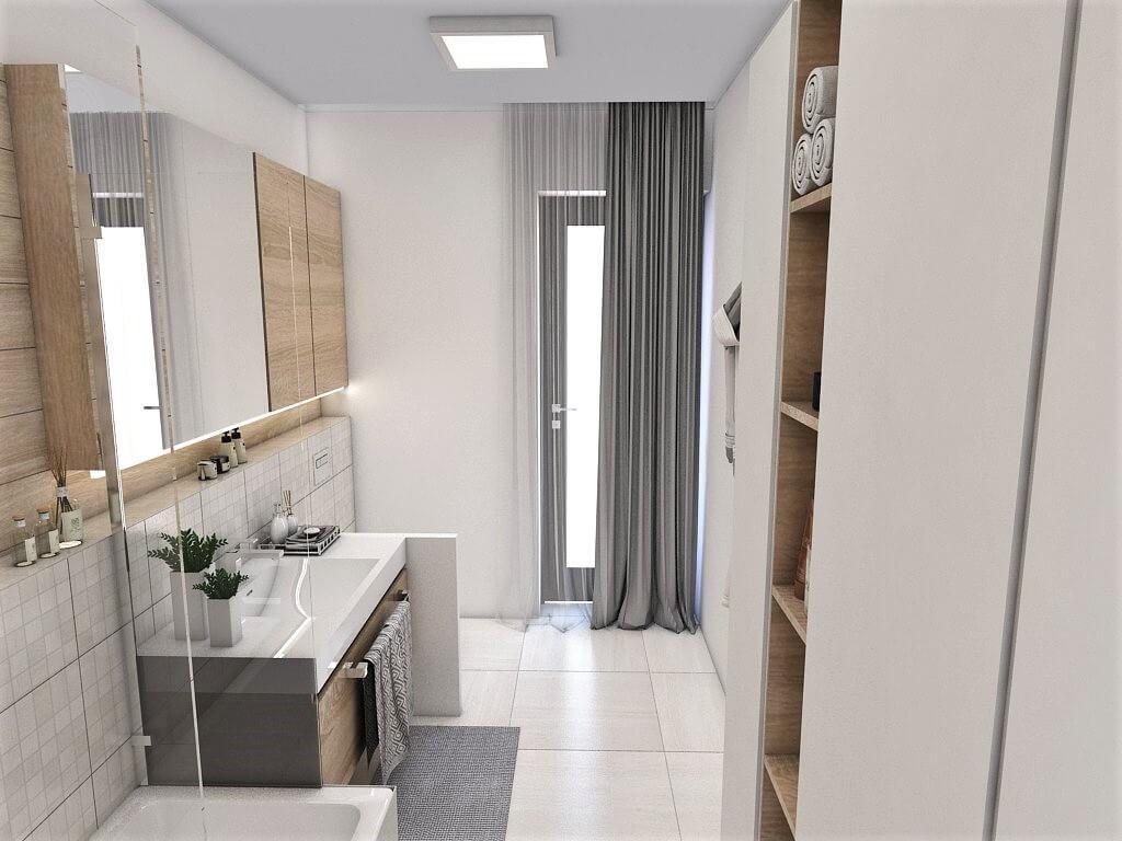 Návrh interiéru kúpeľní 2 v 1 ďalší pohľad od vstupu do spoločnej kúpeľne