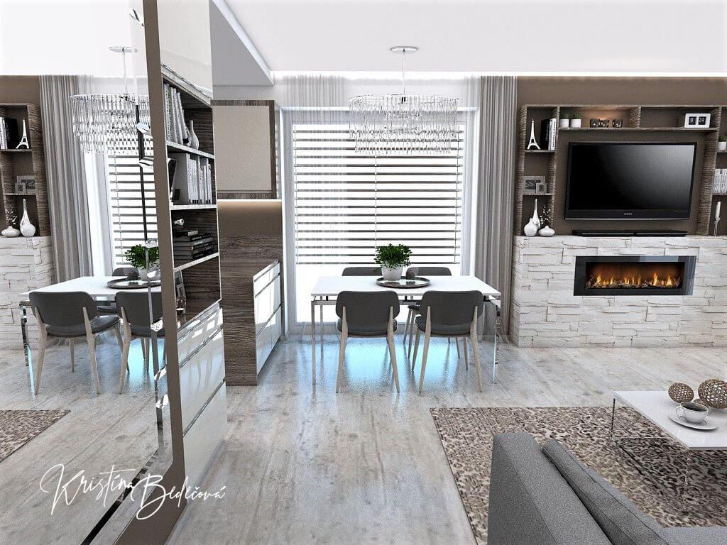 Dizajn kuchyne s obývačkou Fuknčná elegancia, pohľad na jedálenský stôl