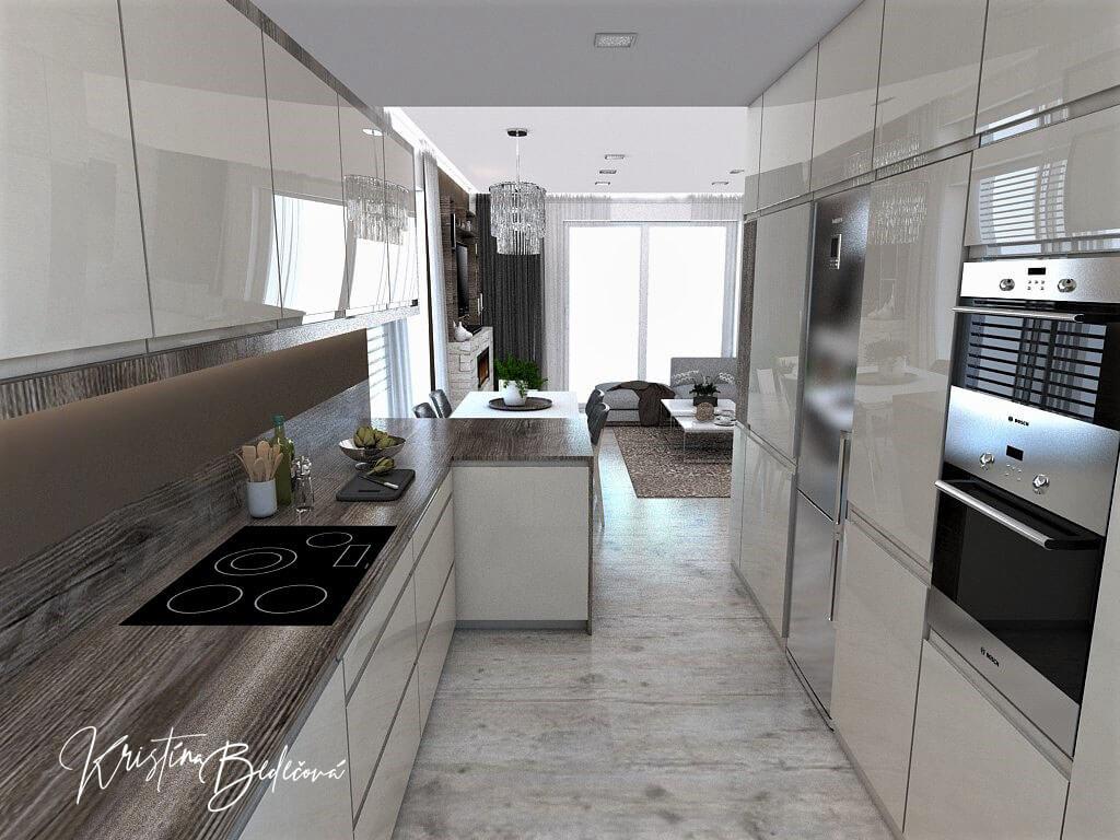 Dizajn kuchyne s obývačkou Fuknčná elegancia, pohľad z kuchyne do jedálne