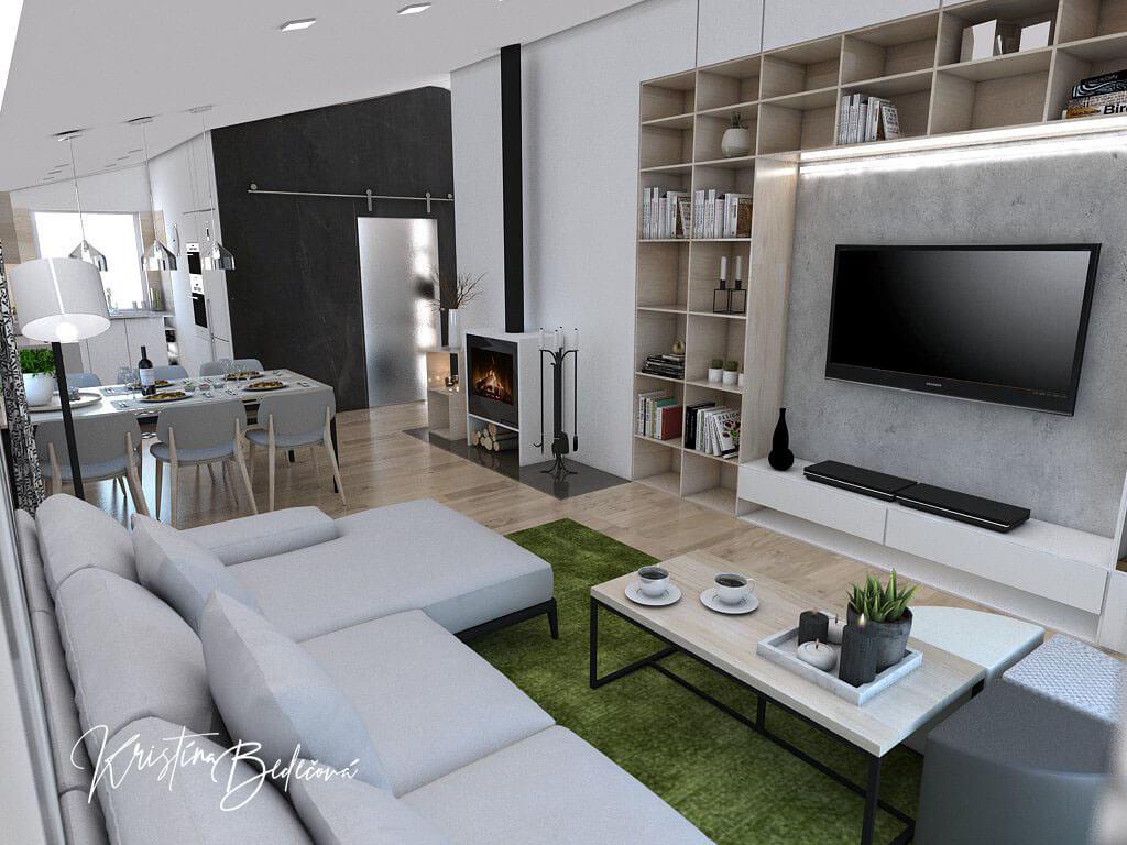 Návrh interiéru kuchyne s obývačkou Pod pultovou strechou, pohľad zo sedačky na televízor v obývačke