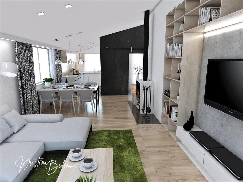 Návrh interiéru kuchyne s obývačkou Pod pultovou strechou, pohľad z obývačky do kuchyne so sikmým stropom