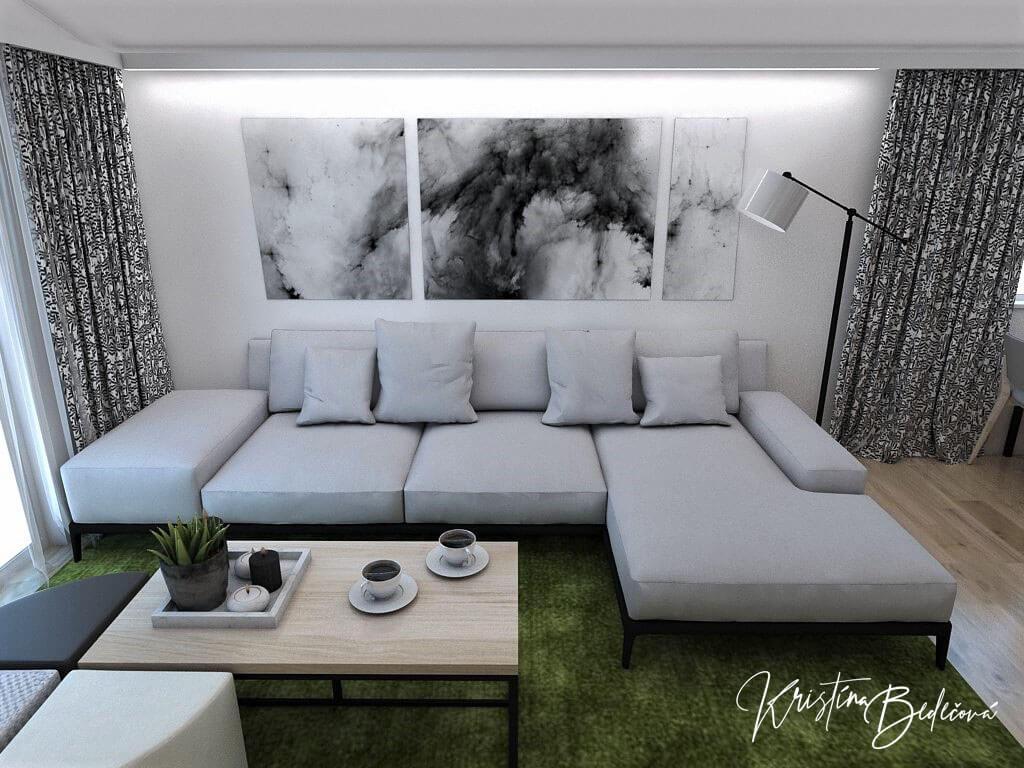 Návrh interiéru kuchyne s obývačkou Pod pultovou strechou, pohľad na sedačku s obrazom