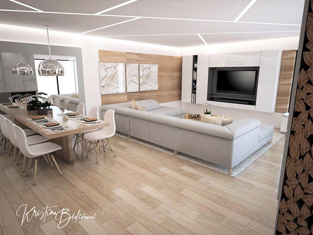Návrh interiéru kuchyne s obývačkou Krížom-krážom, pohľad z chodby