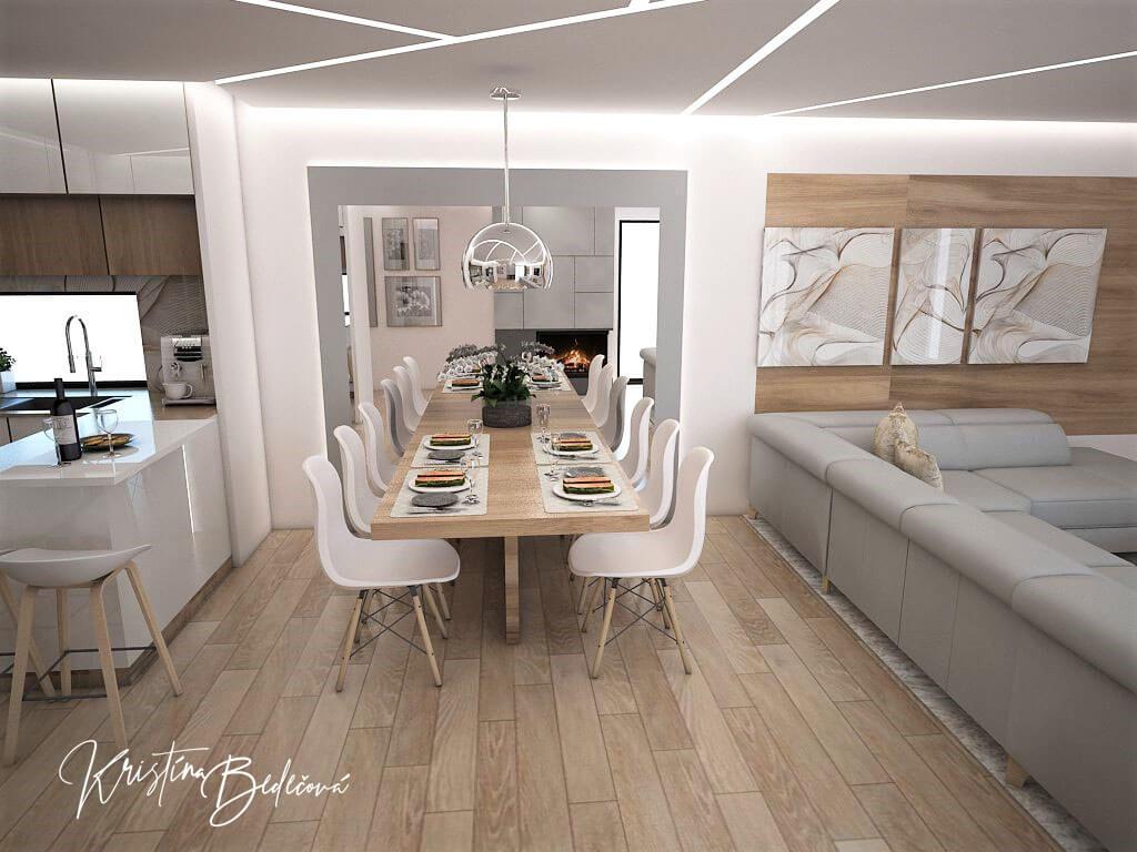 Návrh interiéru kuchyne s obývačkou Krížom-krážom, pohľad na jedálenský stôl