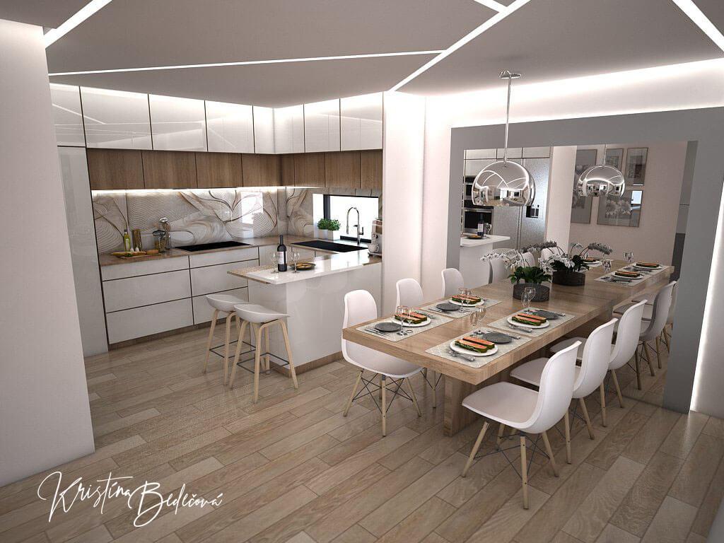 Návrh interiéru kuchyne s obývačkou Krížom-krážom, pohľad na kuchyňu s jedálňou