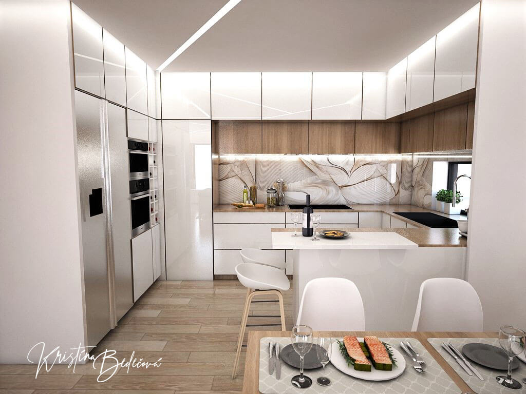 Návrh interiéru kuchyne s obývačkou Krížom-krážom, pohľad z jedálenského stola do kuchyne