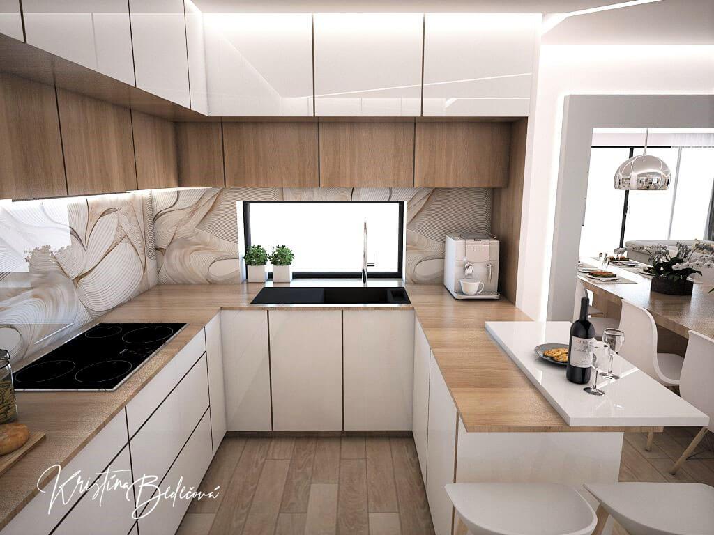 Návrh interiéru kuchyne s obývačkou Krížom-krážom, pohľad na kuchynskú linku a okno