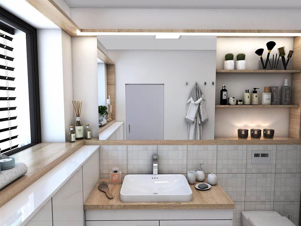 Návrh interiéru kúpeľní 2 v 1 pohľad od vstupu do rodičovskej kúpeľne a na umývadlo