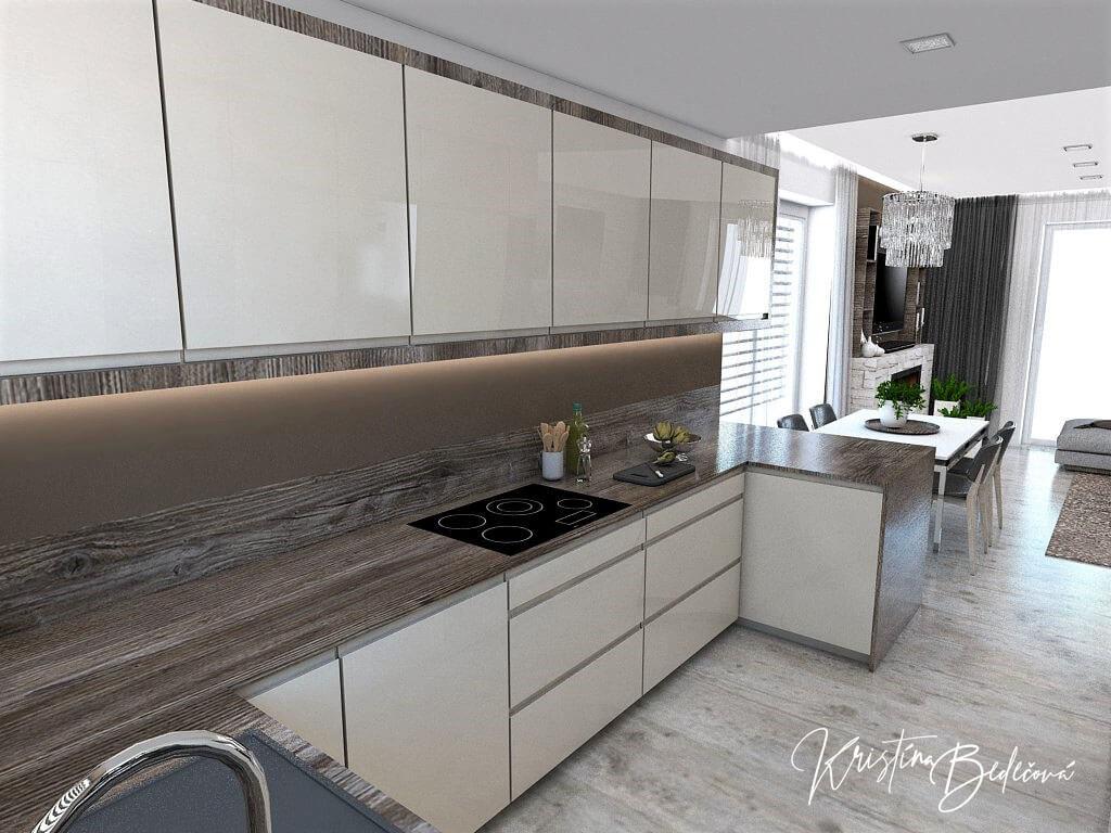 Dizajn kuchyne s obývačkou Fuknčná elegancia, pohľad na pracovnú dosku kuchyne