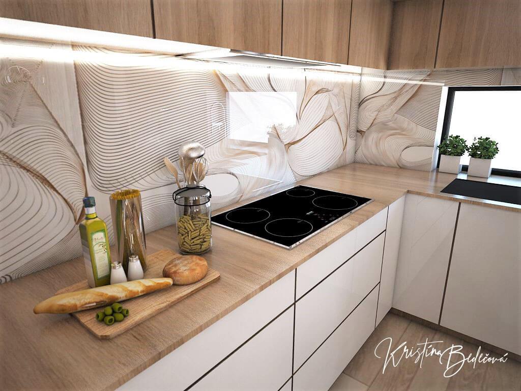 Návrh interiéru kuchyne s obývačkou Krížom-krážom, pohľad na varnú dosku v kuchyni