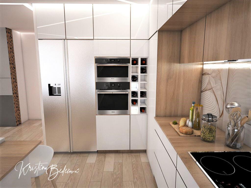 Návrh interiéru kuchyne s obývačkou Krížom-krážom, pohľad na americkú chladničku