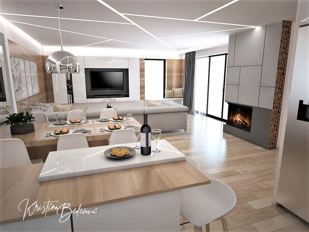 Návrh interiéru kuchyne s obývačkou Krížom-krážom, pohľad na televízor spoza jedálenského stola