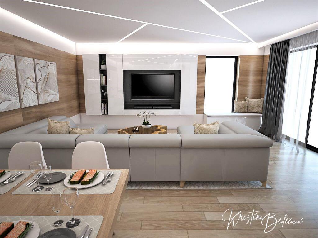 Návrh interiéru kuchyne s obývačkou Krížom-krážom, pohľad na televízor od jedálenského stola