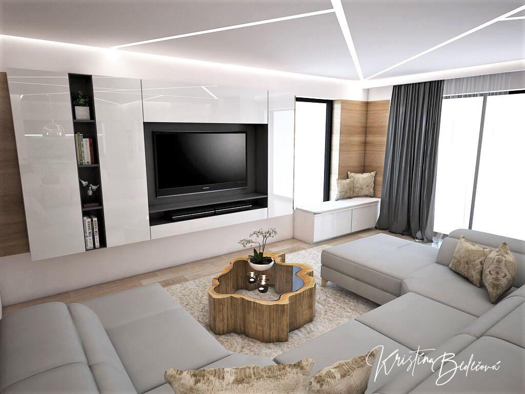 Návrh interiéru kuchyne s obývačkou Krížom-krážom, pohľad na televízor od sedačky