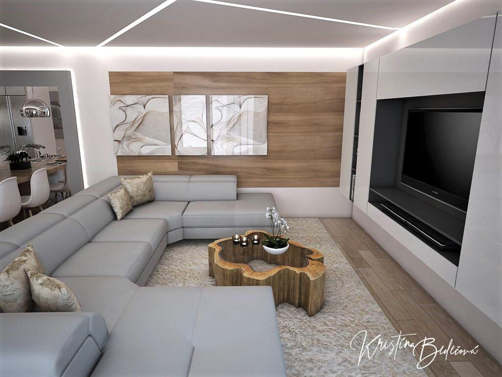 Návrh interiéru kuchyne s obývačkou Krížom-krážom, pohľad na stenu s obkladom