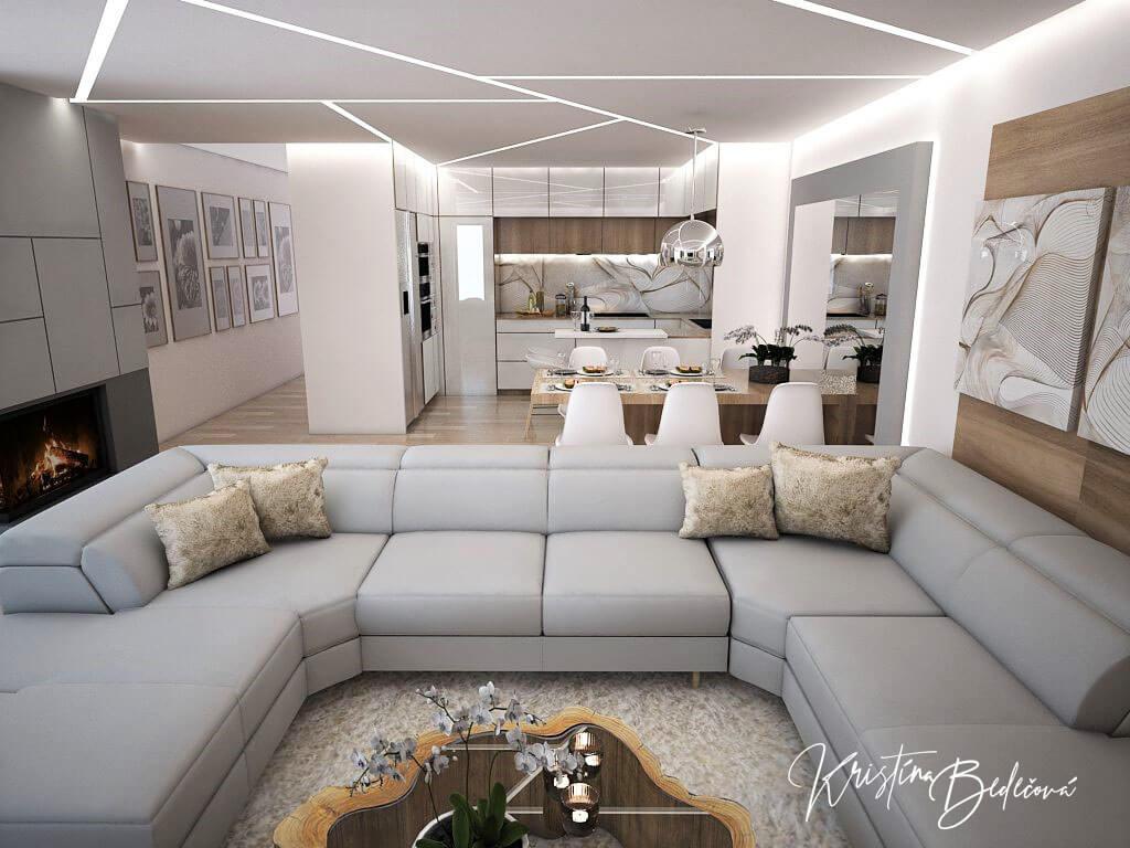 Návrh interiéru kuchyne s obývačkou Krížom-krážom, pohľad od televízora