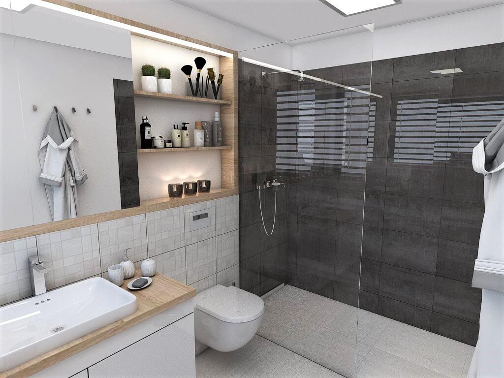 Návrh interiéru kúpeľní 2 v 1 pohľad na od vstupu do rodičovskej kúpeľne