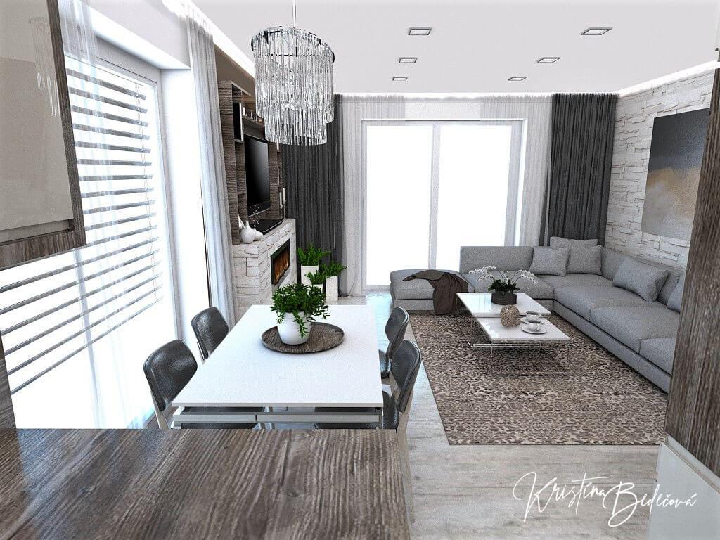 Dizajn kuchyne s obývačkou Fuknčná elegancia, pohľad na jedáleň a obývačku