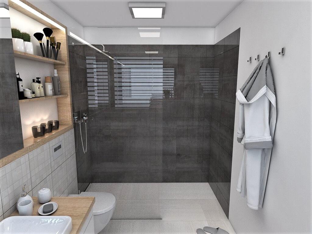 Návrh interiéru kúpeľní 2 v 1 pohľad na sprchový kút rodičovskej kúpeľne