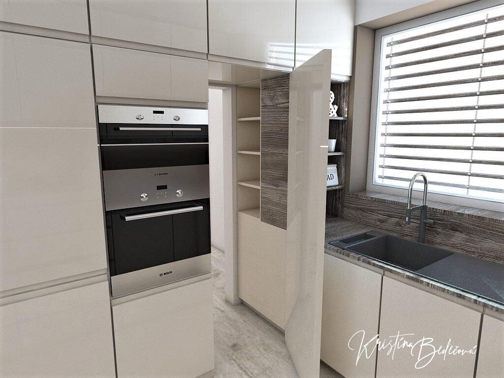 Dizajn kuchyne s obývačkou Fuknčná elegancia, pohľad na skryté dvere do komory v kuchyni