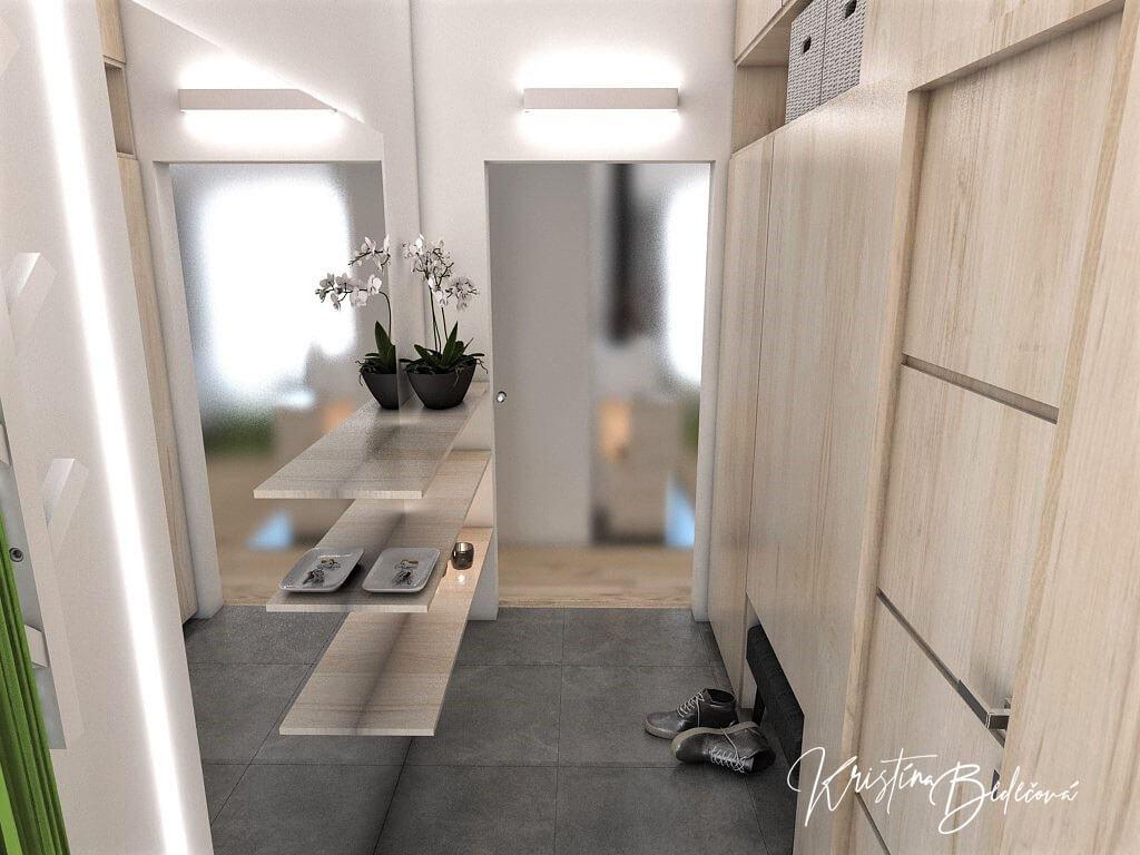 Návrh interiéru vstupnej chodby V jemných tónoch - pohľad na vstupnú chodbu