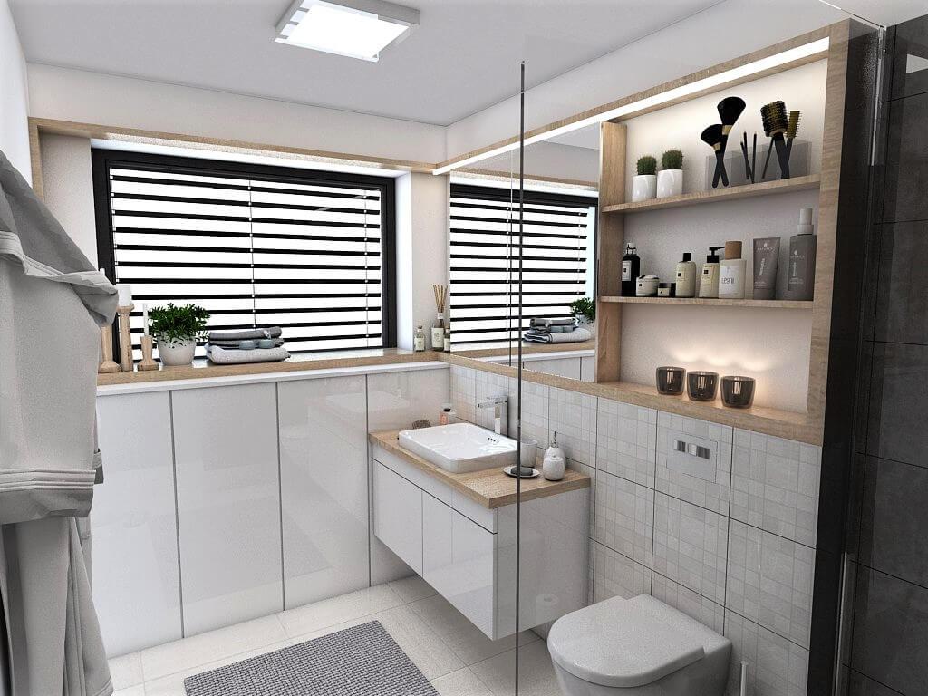 Návrh interiéru kúpeľní 2 v 1 pohľad zo sprchového kútu rodičovskej kúpeľne