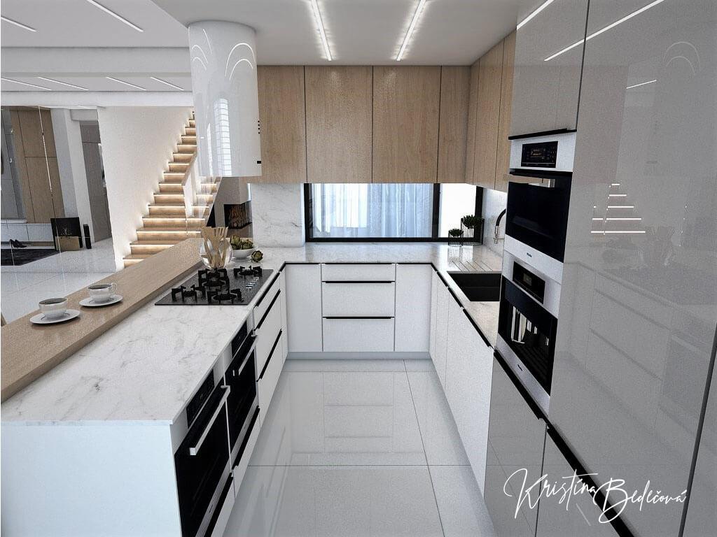 Návrh rodinného domu Rodinný dom s wellness, pohľad na kuchyňu
