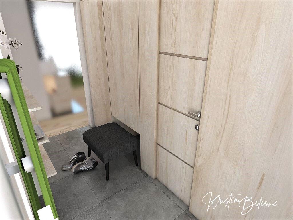 Návrh interiéru vstupnej chodby V jemných tónoch - pohľad na vysúvacie sedenie