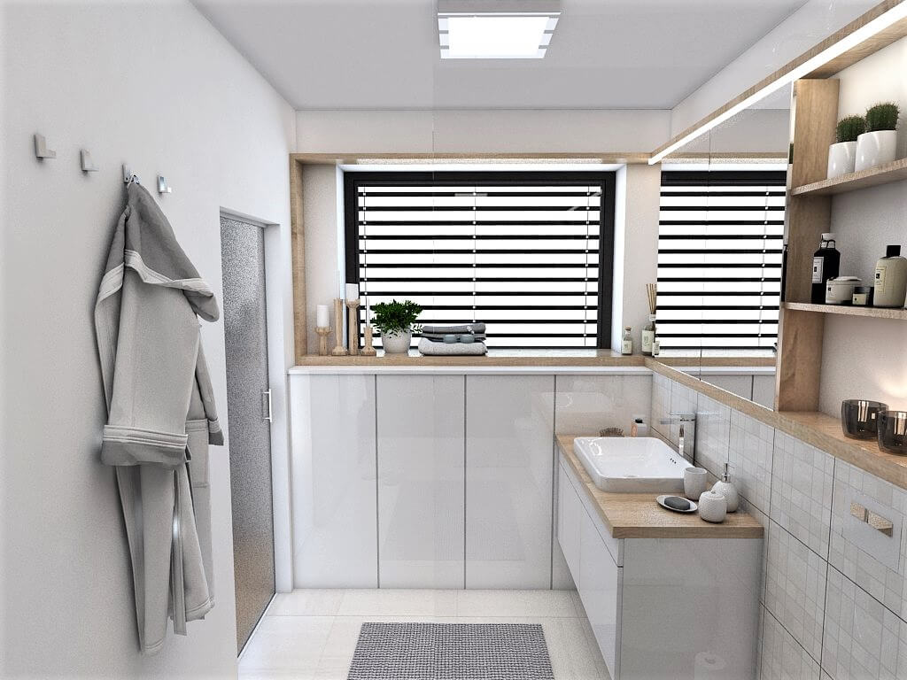 Návrh interiéru kúpeľní 2 v 1 pohľad na okno rodičovskej kúpeľne