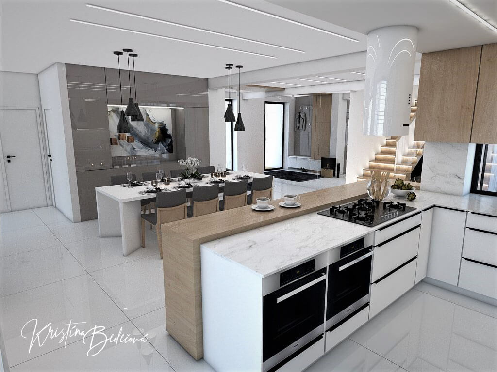 Návrh rodinného domu Rodinný dom s wellness, pohľad z kuchyne