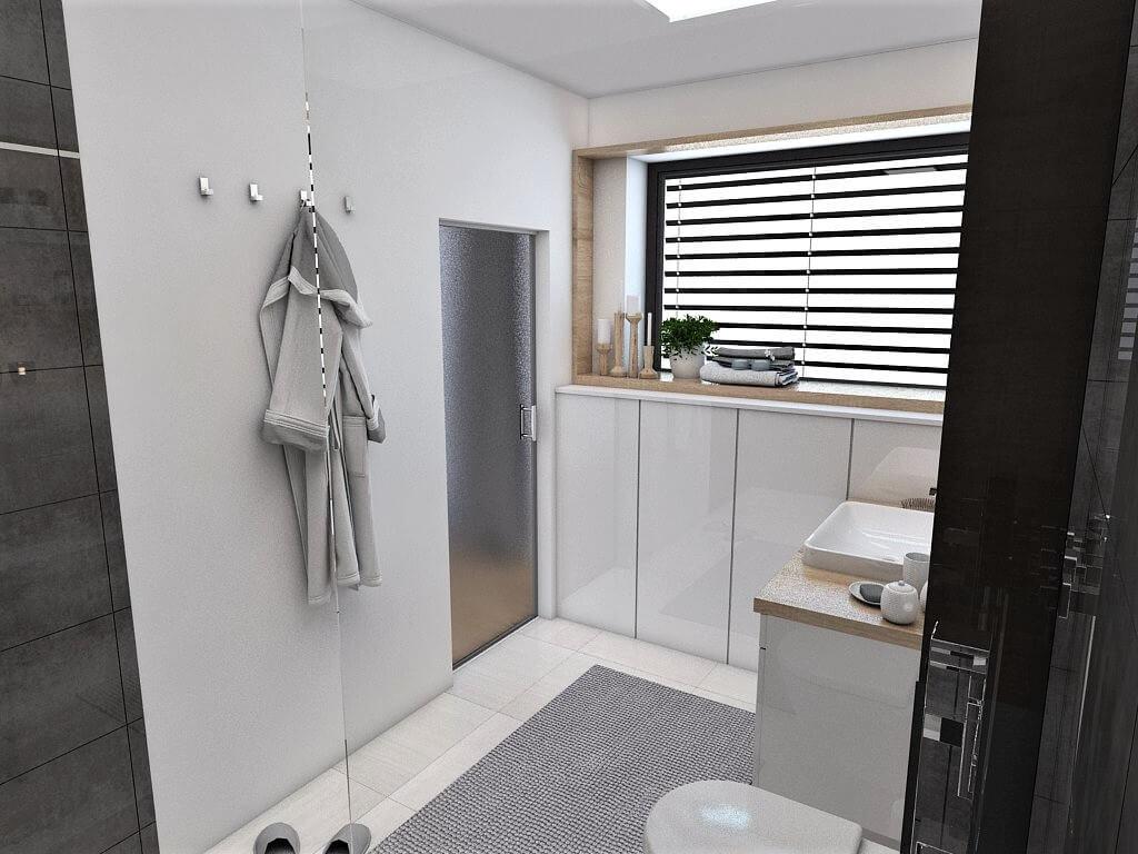 Návrh interiéru kúpeľní 2 v 1 pohľad na vstup do rodičovskej kúpeľne
