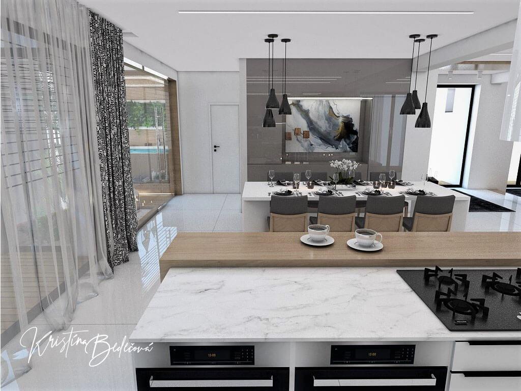 Návrh rodinného domu Rodinný dom s wellness, pohľad na jedáleň z kuchyne