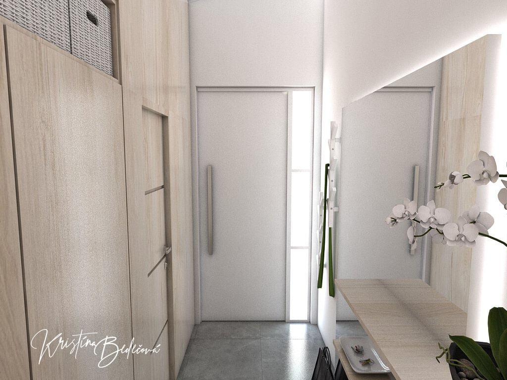 Návrh interiéru vstupnej chodby V jemných tónoch - pohľad na vstupné dvere