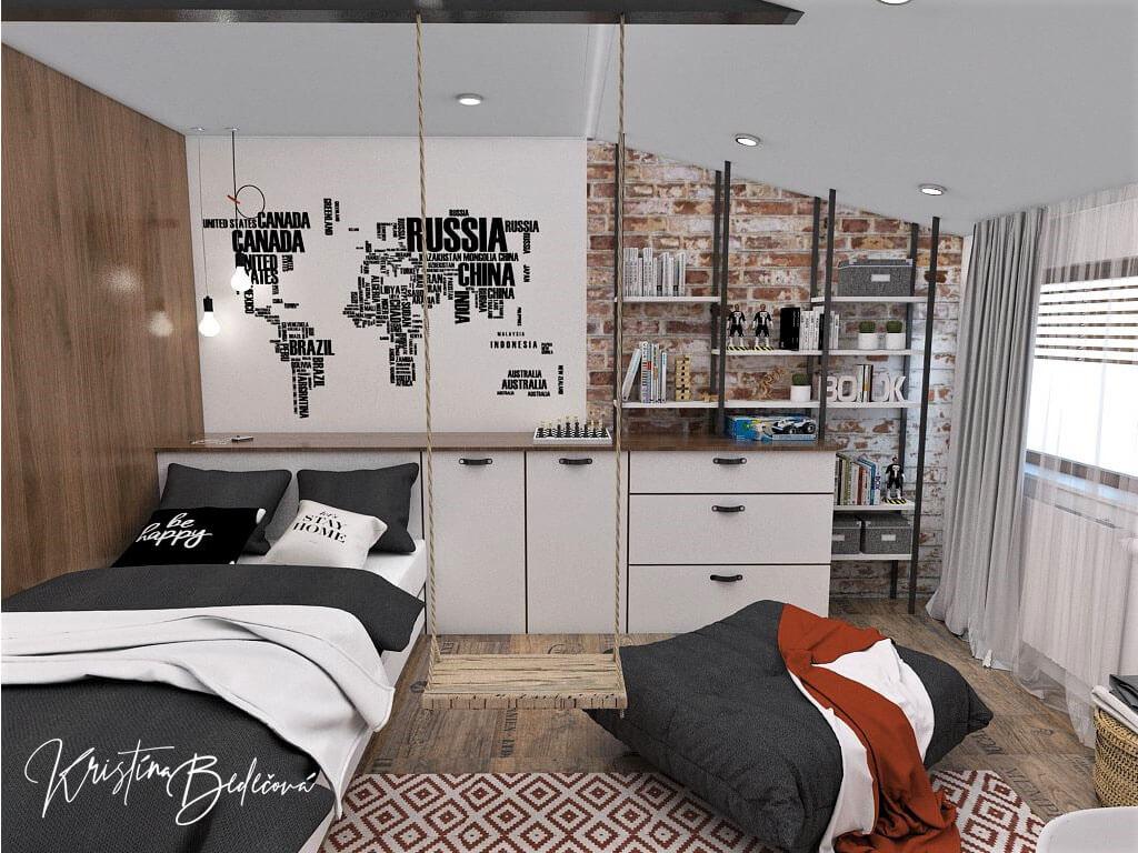 Návrh interiéru detskej izby Tehlové kráľovstvo, pohľad na posteľ a skrinky s poličkami