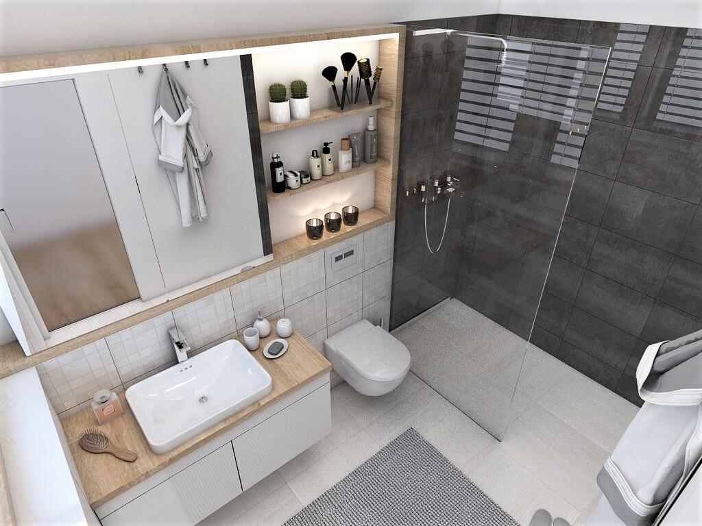 Návrh interiéru kúpeľní 2 v 1 pohľad na umývadlo, záchod a sprchový kút rodičovskej kúpeľne