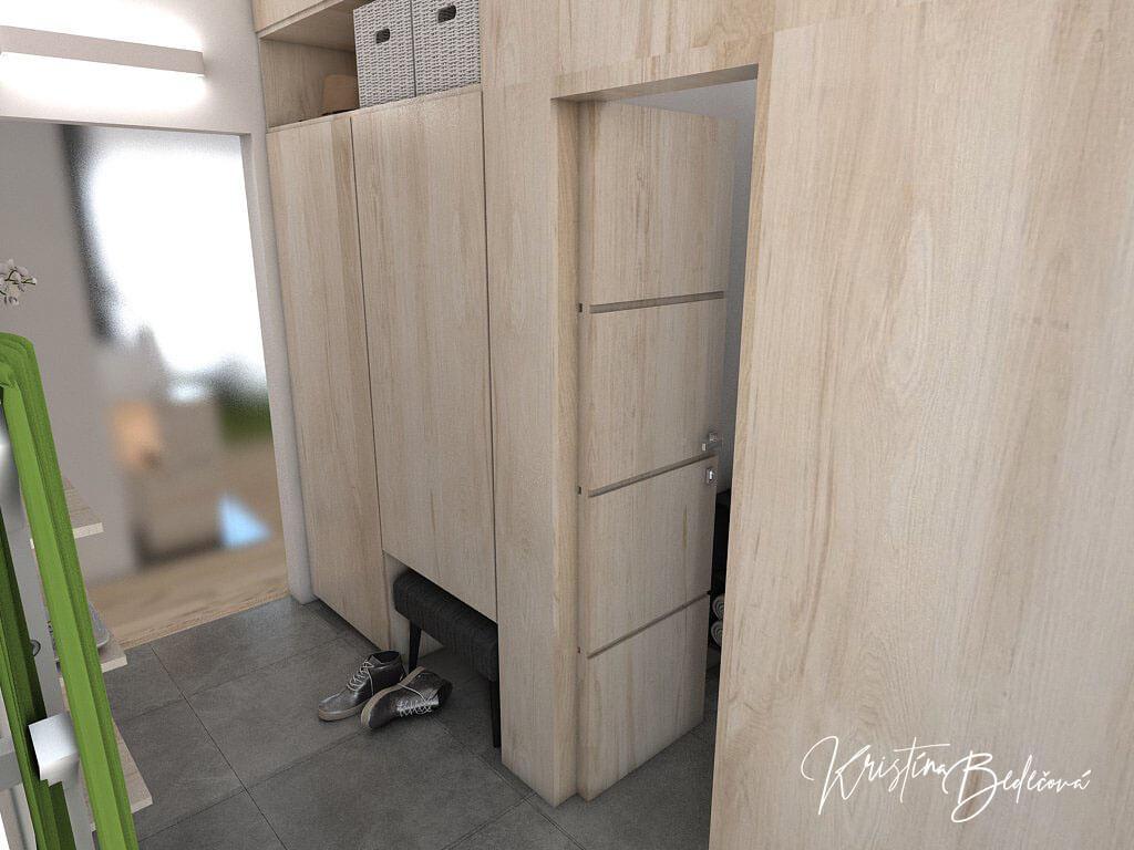 Návrh interiéru vstupnej chodby V jemných tónoch - pohľad na presklenné dvere do obytnej časti a dvere do šatníka