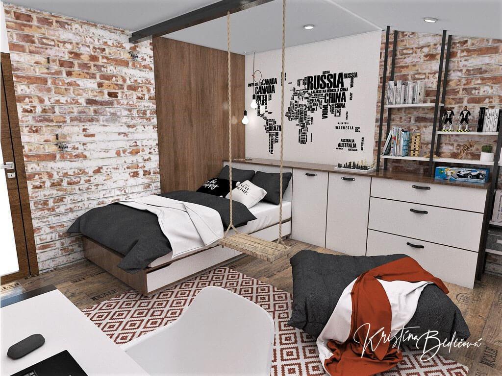 Návrh interiéru detskej izby Tehlové kráľovstvo, pohľad na posteľ a hojdačku