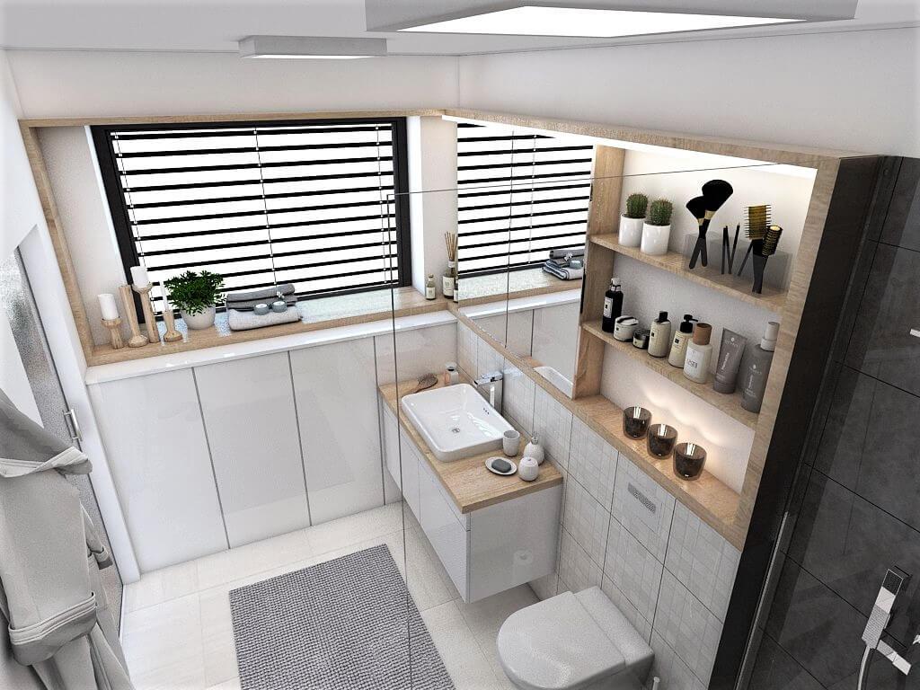 Návrh interiéru kúpeľní 2 v 1 pohľad na umývadlo rodičovskej kúpeľne