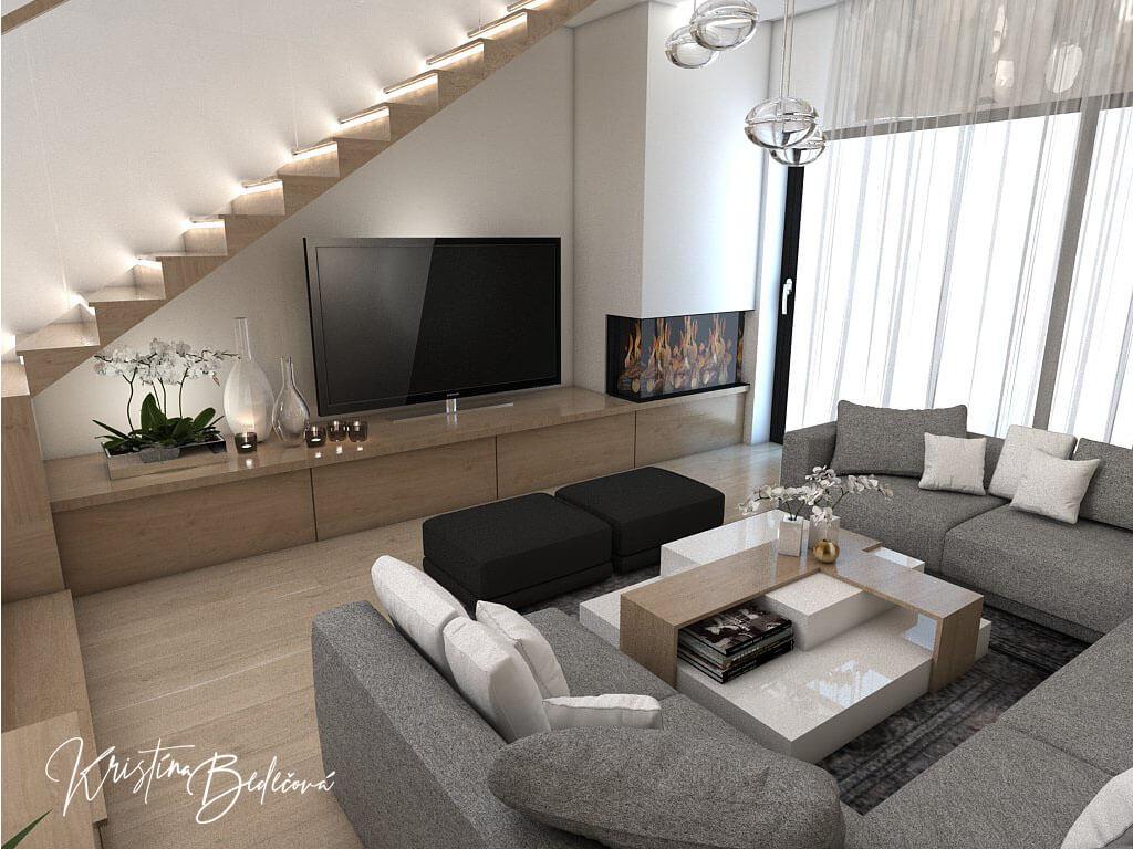 Návrh rodinného domu Rodinný dom s wellness, pohľad na televízor v obývačke