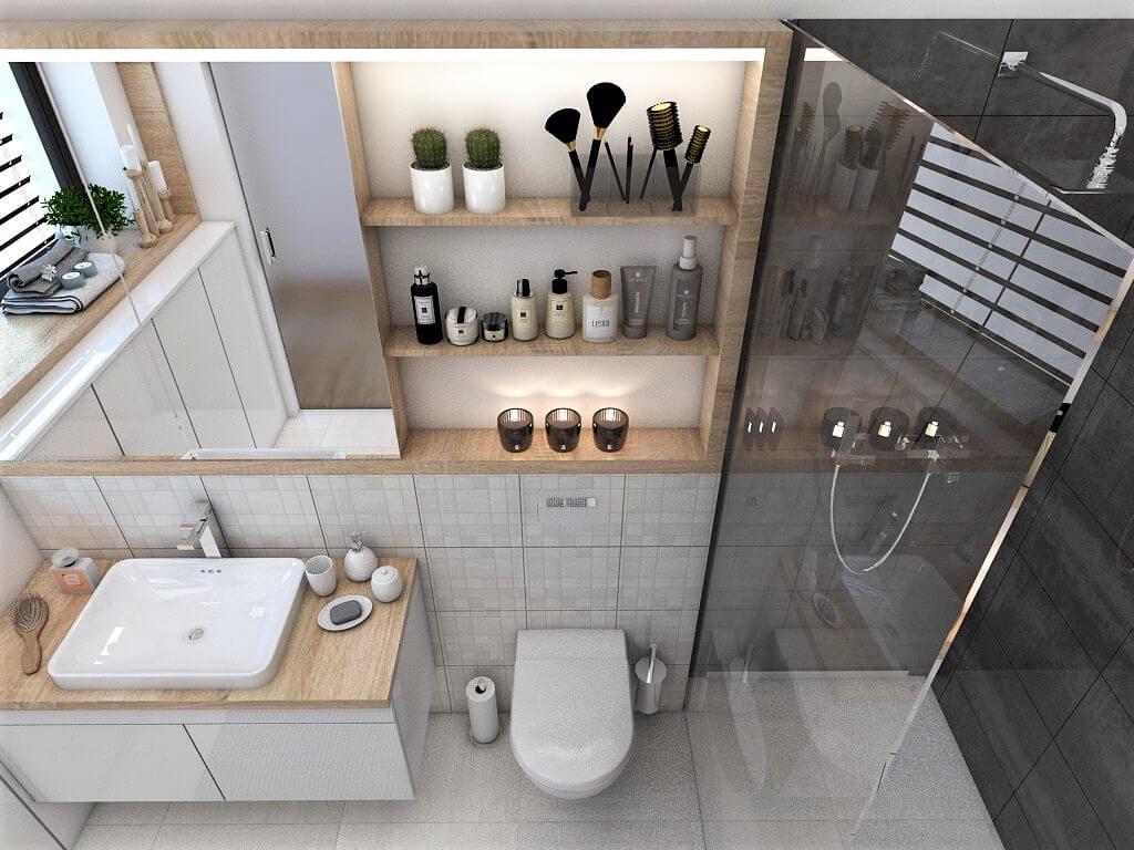 Návrh interiéru kúpeľní 2 v 1 pohľad na záchod rodičovskej kúpeľne