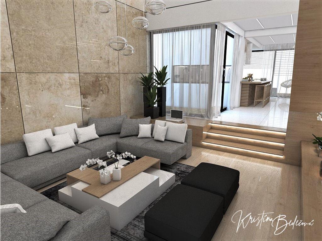 Návrh rodinného domu Rodinný dom s wellness, pohľad na sedačku v obývačke