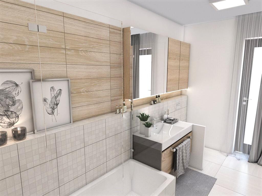 Návrh interiéru kúpeľní 2 v 1 pohľad od vstupu do spoločnej kúpeľne