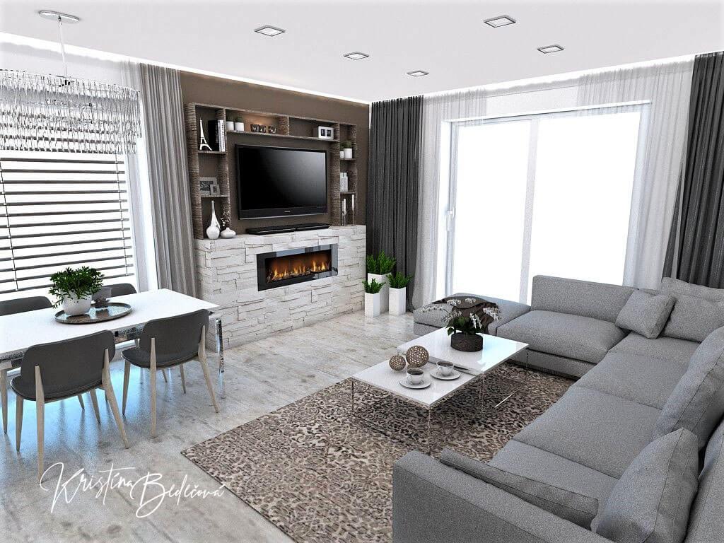 Dizajn kuchyne s obývačkou Fuknčná elegancia, pohľad na televízor