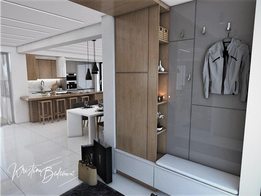 Návrh rodinného domu Rodinný dom s wellness, pohľad na vešanie kabátov vstupnej chodbe