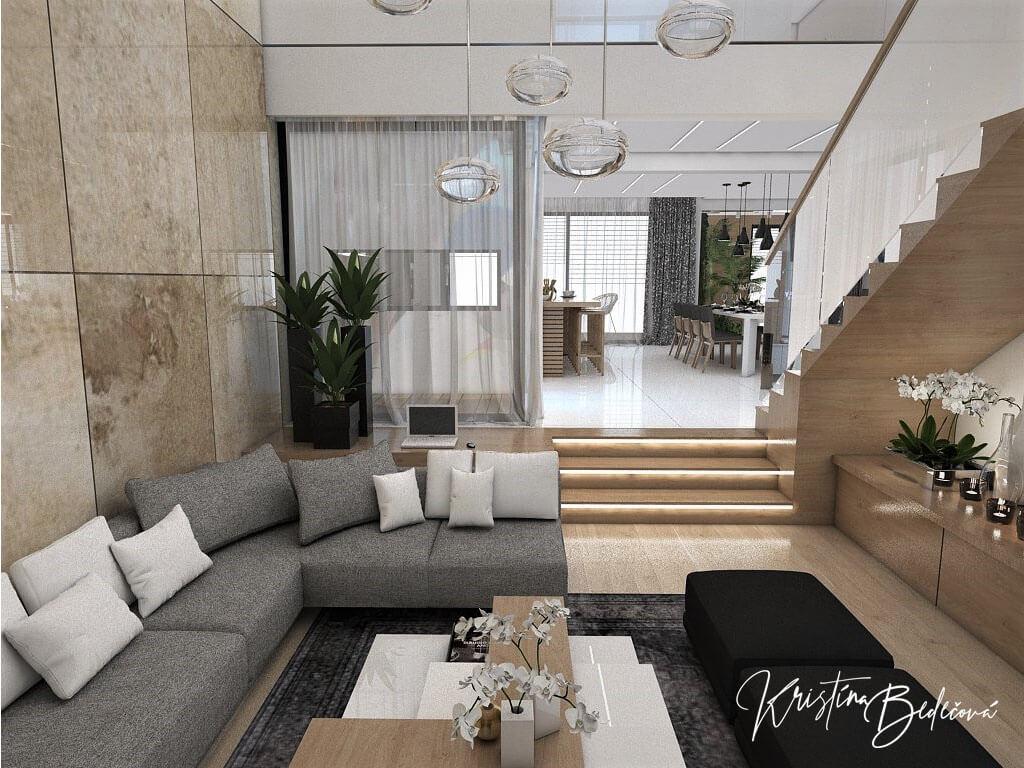 Návrh rodinného domu Rodinný dom s wellness, pohľad zo sedačky v obývačke do kuchyne
